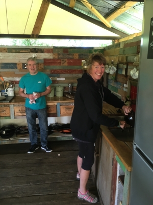 Sue L and Rich in our kitchen at Knepp