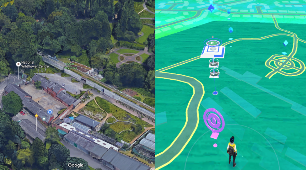 Figure 2. split view showing the 'real' aerial image and Pokemon GO avatar in a virtual overlay