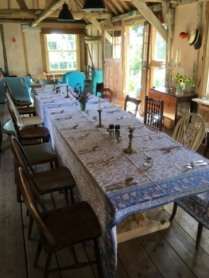 Dining table at Knepp