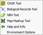 Tom.bio plugin for QGIS menu
