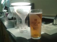 Demonstration of proper use of a pint glass (next to a pint of Shropshire Lass)
